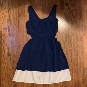 Navy & White Cut-Out Dress 🦋